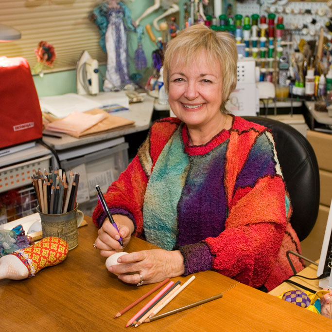Patti Medaris Culea in her Doll Making Studio